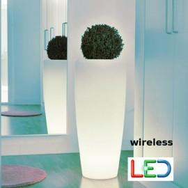 Macetero iluminado Bambú Batería+Solar RGB