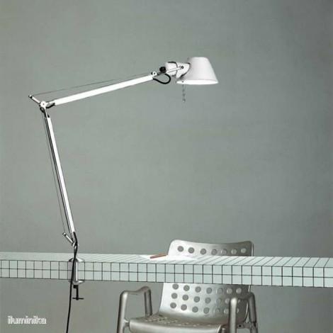A004420+A004100, Lámpara Sobremesa Tolomeo Blanco Mordaza Artemide