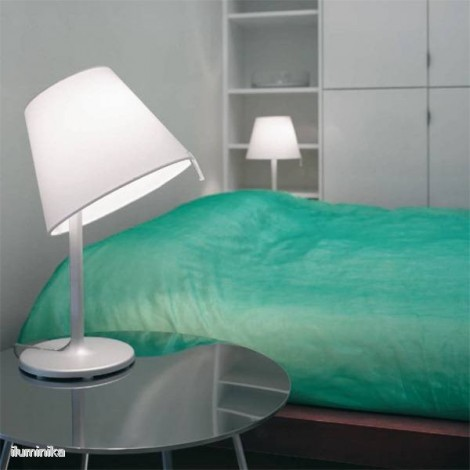 0710010A, Lámpara Sobremesa Melampo Notte Gris Aluminio Artemide